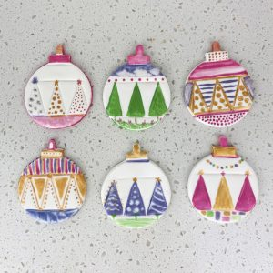 Bauble cupcake toppers